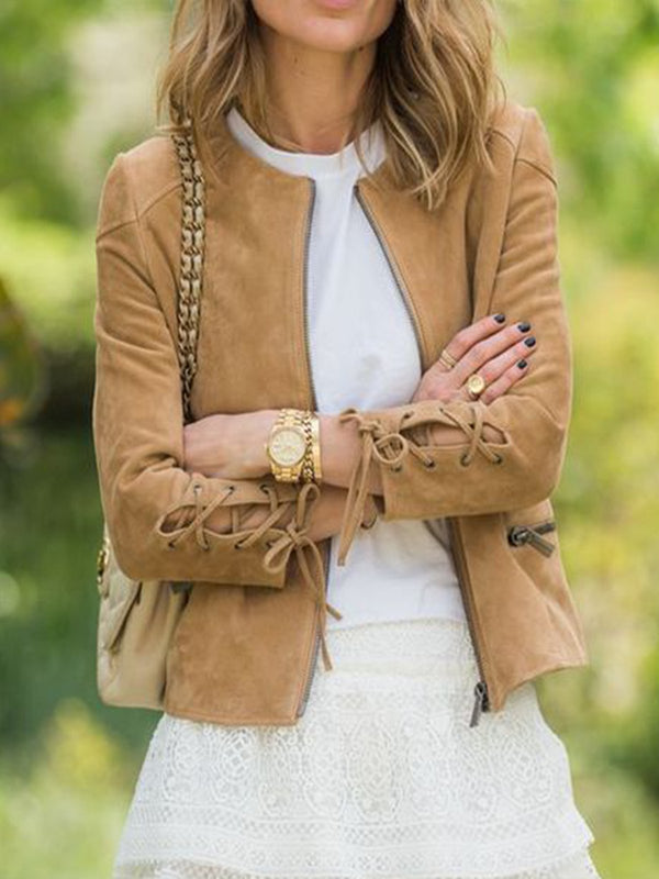 Tan Casual Solid Long Sleeve Outerwear