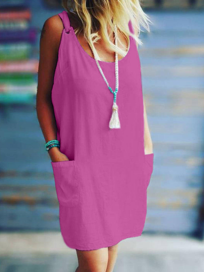 Plus Size Solid Casual Sleeveless Pockets Dresses