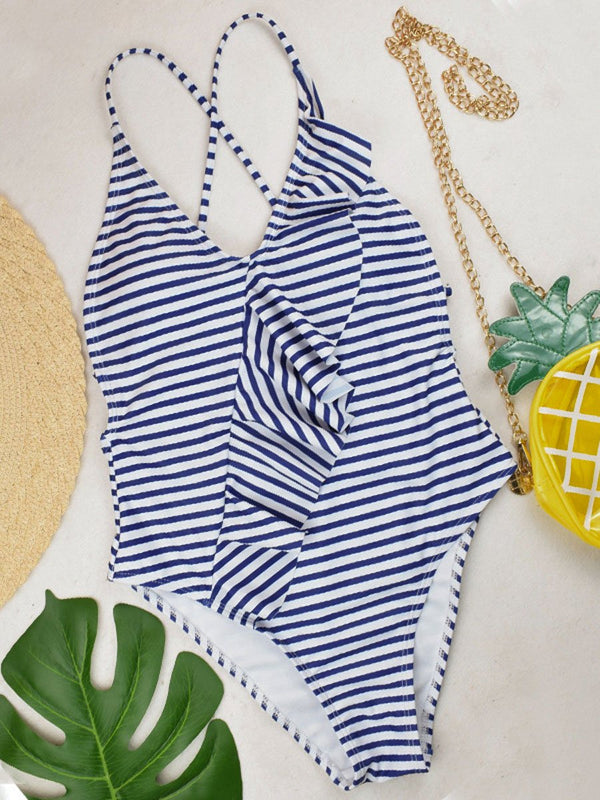 Sexy Striped Siamese Ruffled One-piece Swimsuit