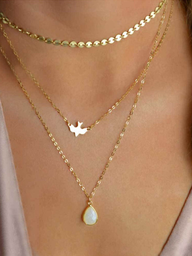 Golden Multi-layer Necklaces Womens Handmade Pendant Casual Long Alloy Necklaces