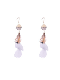 Womens Feathers Pattern Earrings Fashion Tassel Earrings