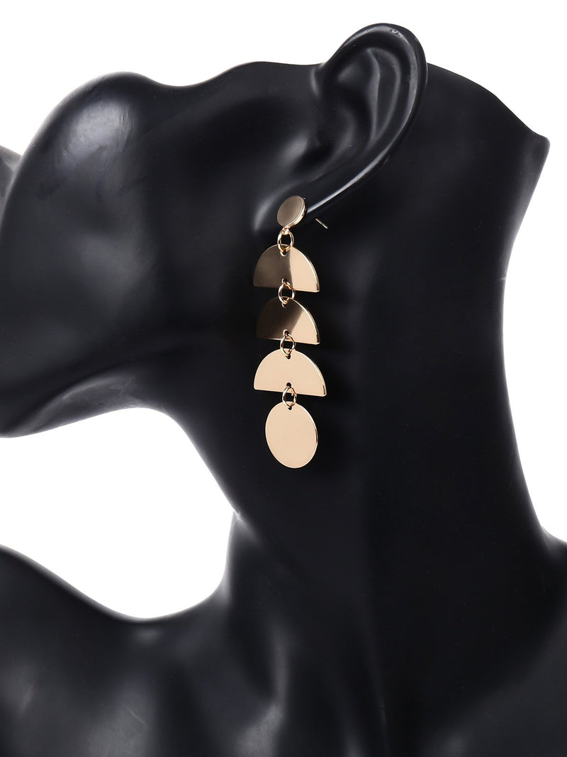 Womens Pendant Metal Long Earrings