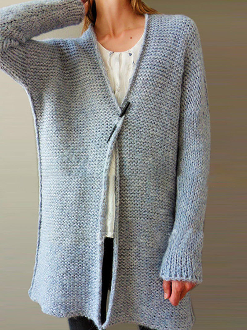 Eyelet Solid Casual Long Sleeve Mohair Fashion Cardigan
