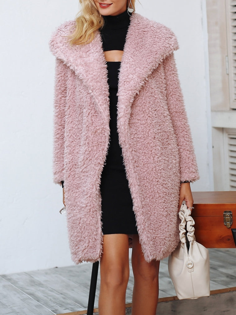 Faux Fur Shawl Collar Elegant Lady's Winter Coats