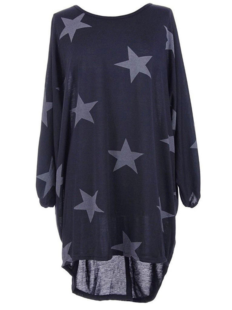 Crew Neck Long Sleeve High Low Printed Dress
