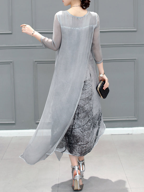 Gray Asymmetrical Printed Casual Dress