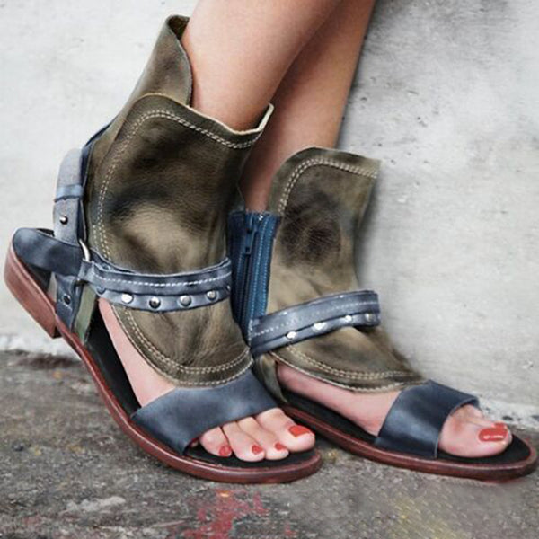 Flat Heel PU Zipper Casual Sandals