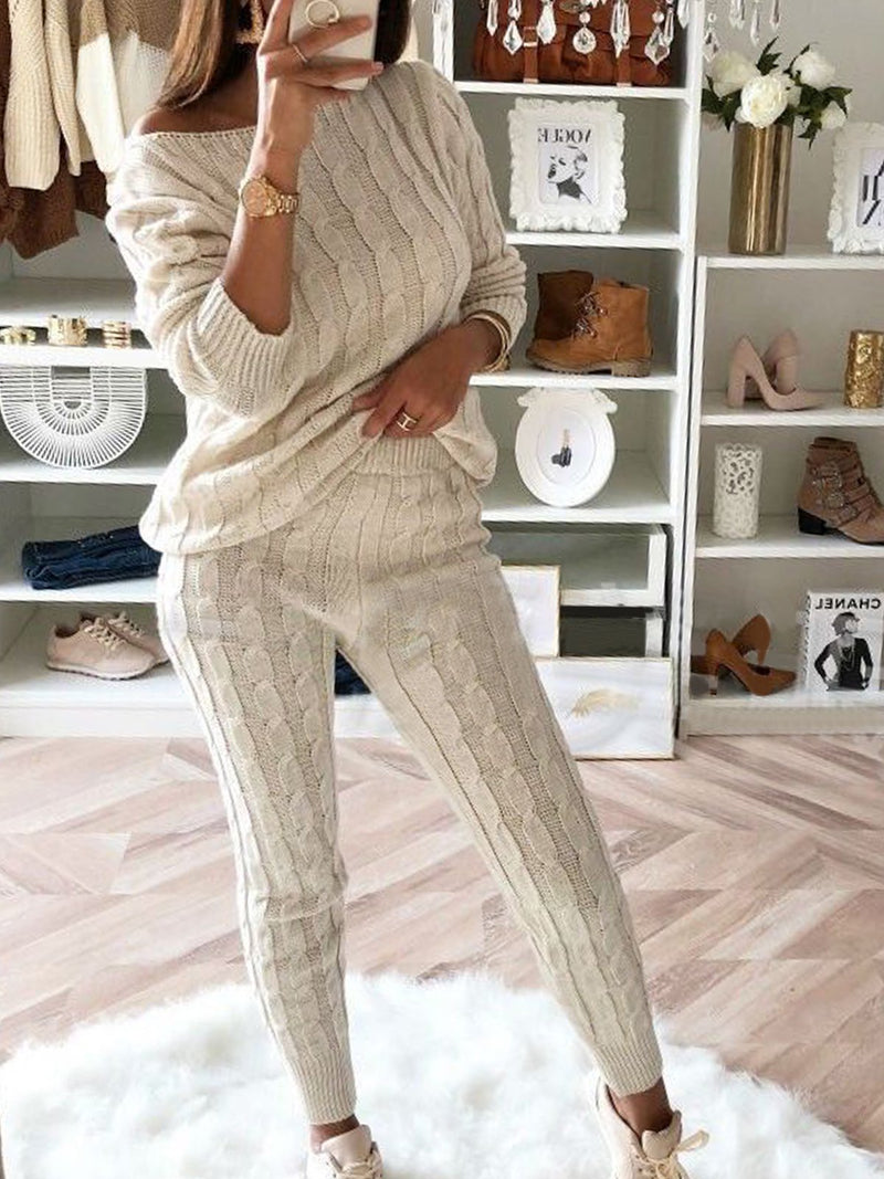 2019 Womens Stylish Round Neck Two Piece Casual Warm Knit Wears Sets Jumpsuits