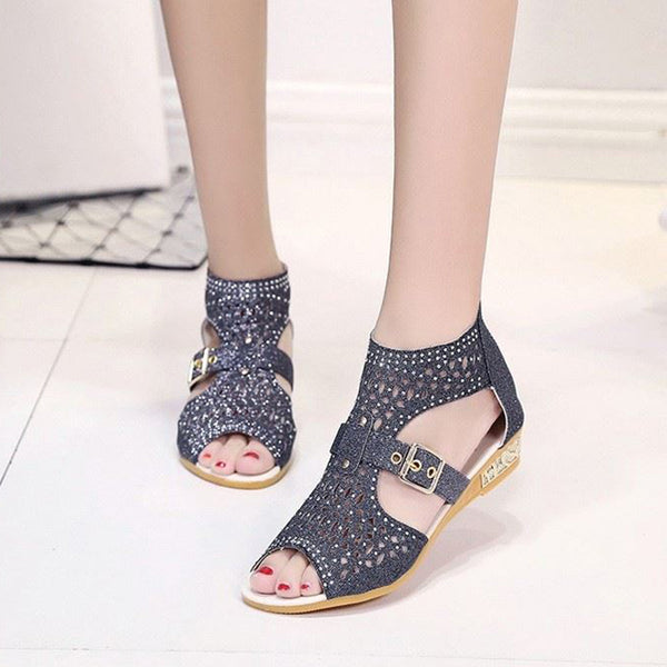 Rhinestone Zipper Women's Sandals