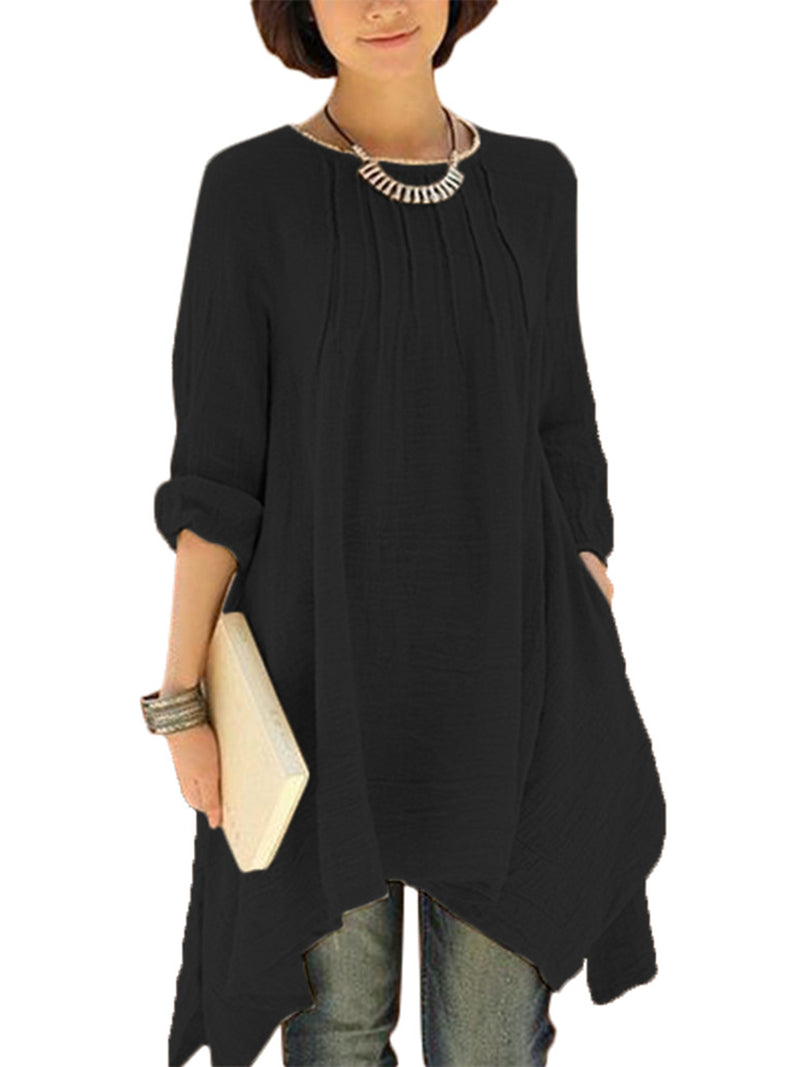 Asymmetric Long Sleeve Blouses & Shirt