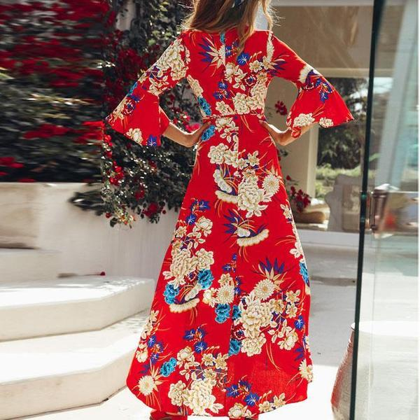 Explosive Printing Horn Sleeve Plus Size Dress