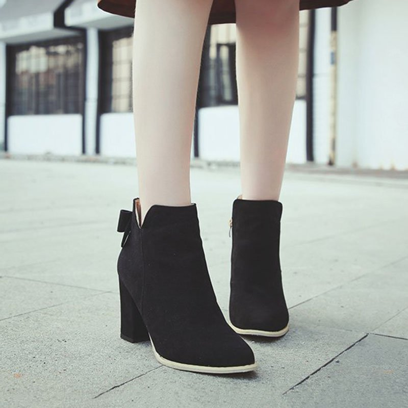 Women Ankle Suede Chunky Heel Pointed Toe Slip-On Boots