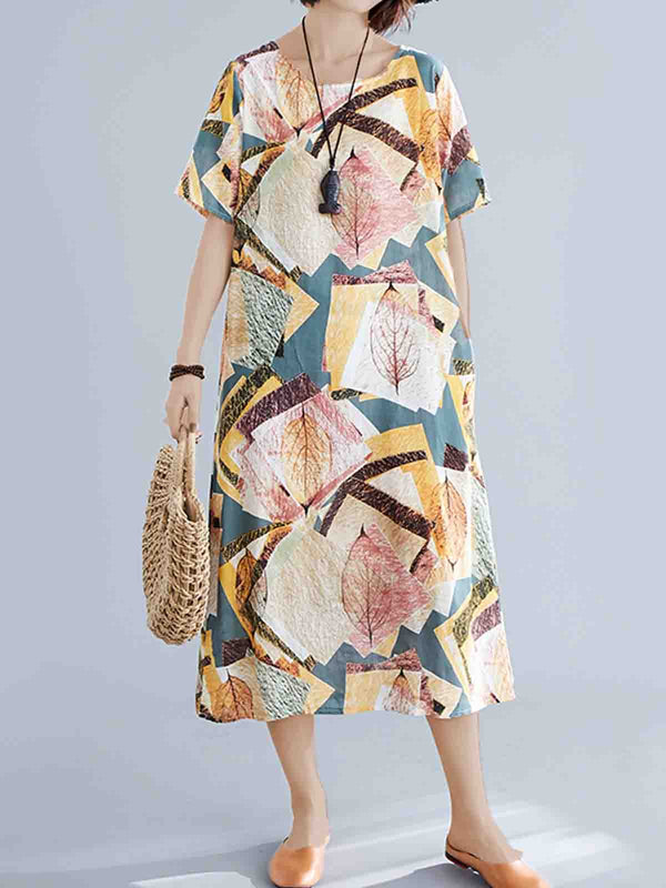 Plus Size Women Short Sleeve Round Neck Linen Floral Vintage Loose Casual Dress