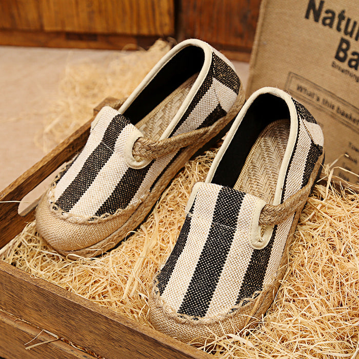 Casual Stripes Women's Slip-On Cotton Linen Loafers