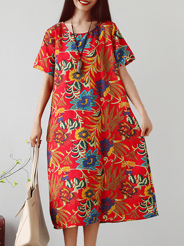 Plus Size Women Short Sleeve Cotton And Linen Floral Loose Casual Midi Dress