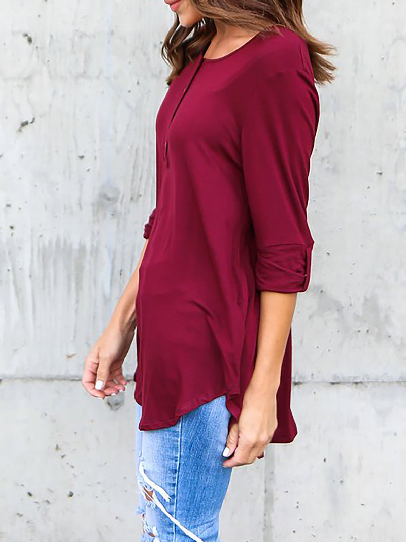 Solid Casual V neck Cotton T-Shirt