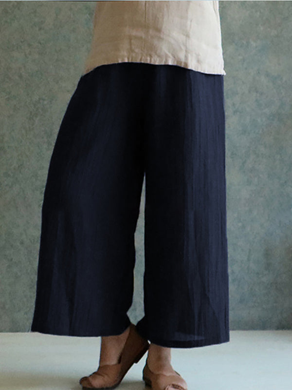 Solid Casual Linen Plus Size Pants