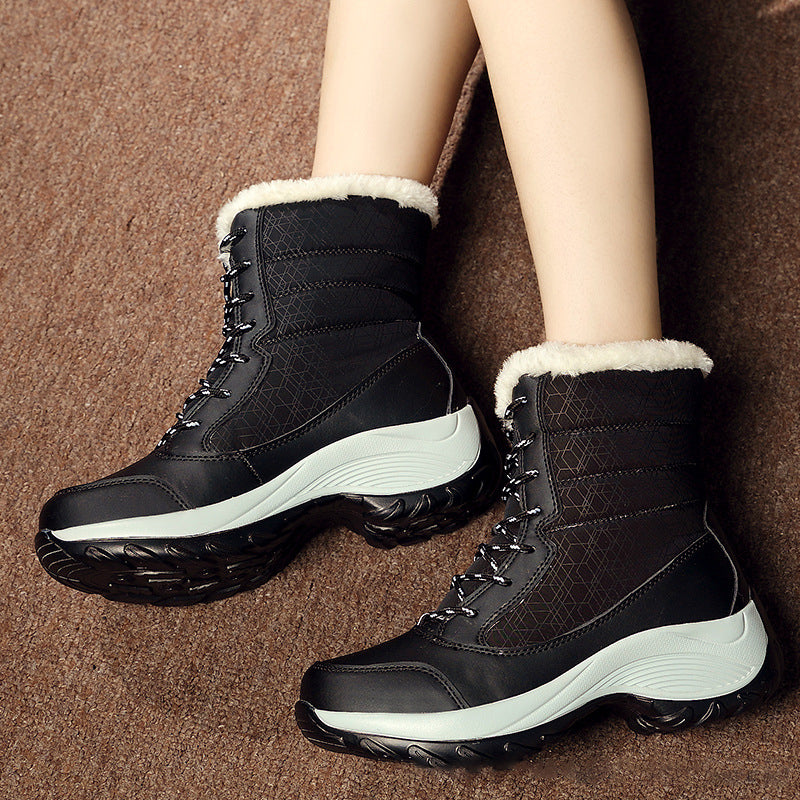 Black Wedge Heel Date Winter PU Boots