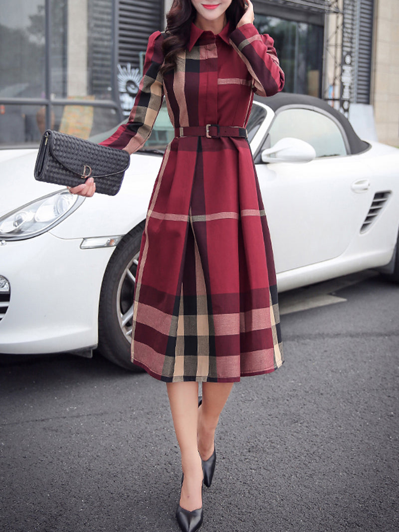 Long Sleeve Casual Acetate A-line Checkered/Plaid Dress