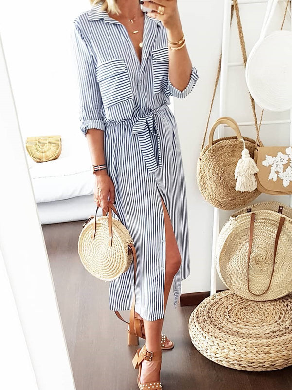 Casual Plus size ladies striped shirt dress