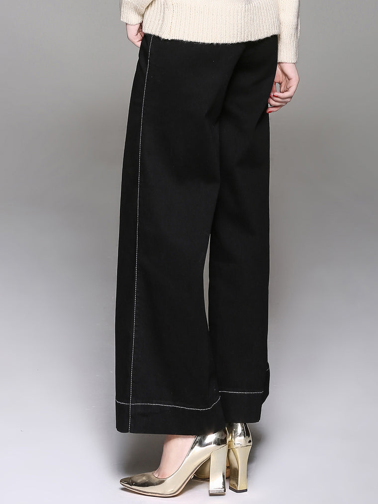 Women Casual Denim Wide Leg Pants