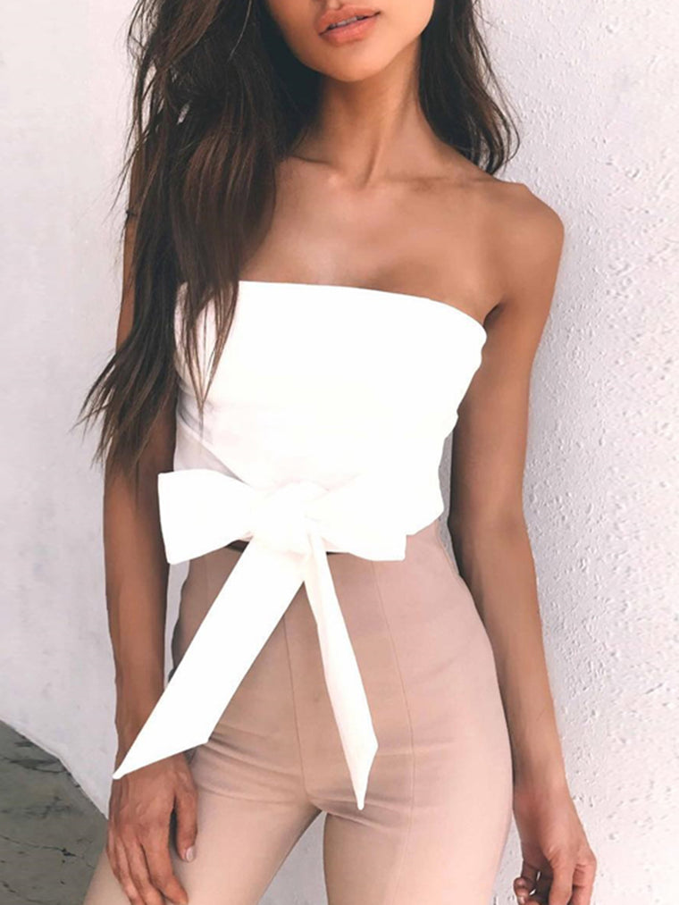 White Strapless Solid Zipper Sexy Crop Top