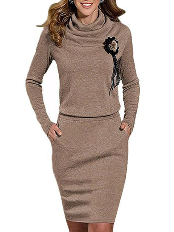 Cowl Neck Plain Pocket Bodycon Dress