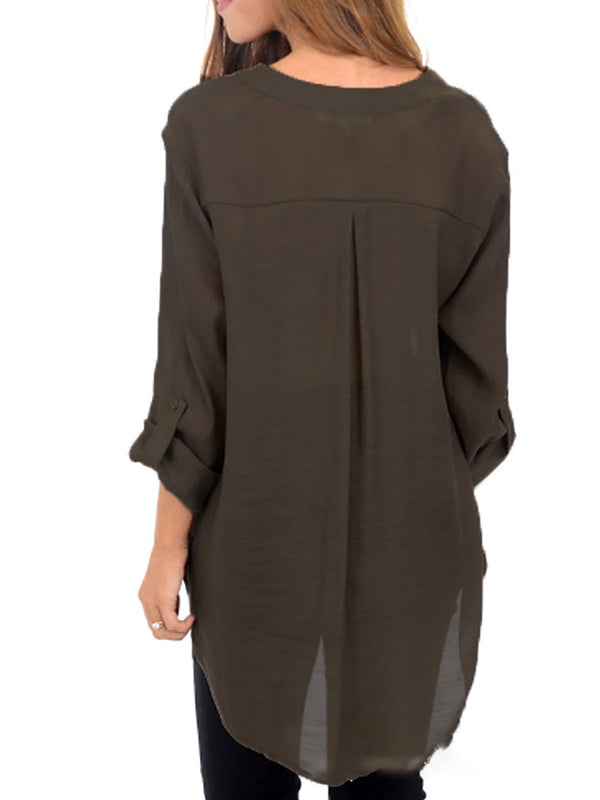 Casual Polyester V Neck Buttoned Blouse