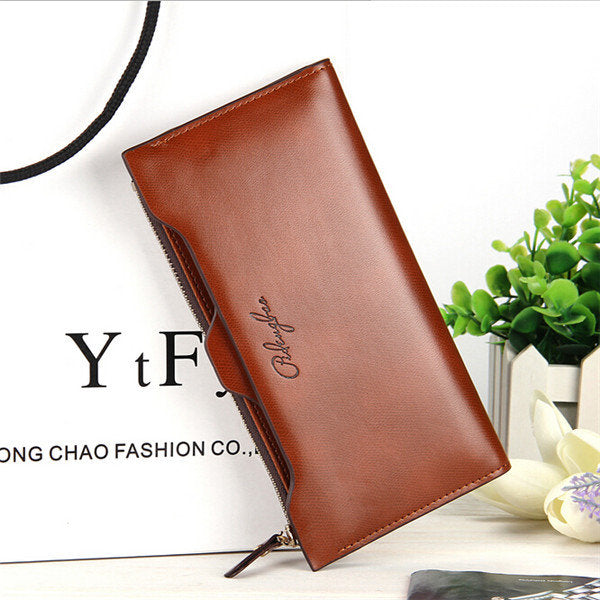 Women Oil Leather Ultrathin Wallet Bright PU Leather Purse Wallet
