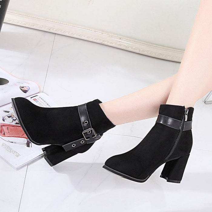 Black Spring/Fall Chunky Heel Daily Adjustable Buckle Suede Boots