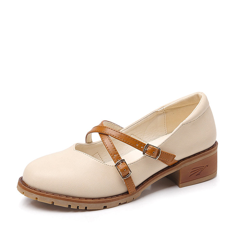 Plus Size Women Buckle Casual Chunky Heel  Flats