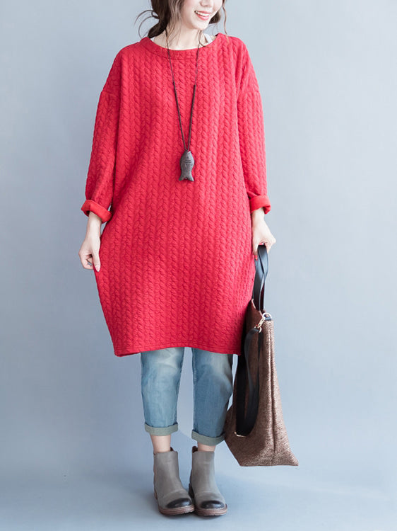 Thickened Long Sleeve Women Baggy casual Dress