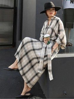 Big Plaid Lace-Up Long Shirt Dress
