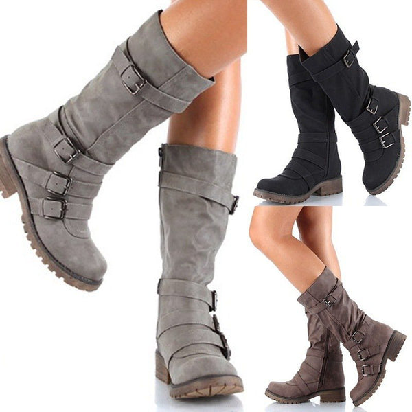 Women Adjustable Buckle Comfy Mid-Calf Low Heel Boots Artificial Leather Booties