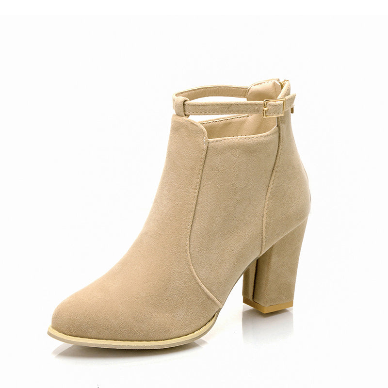 Plus Size Women Ankle Pointed Toe Zipper Chunky Heel Boots