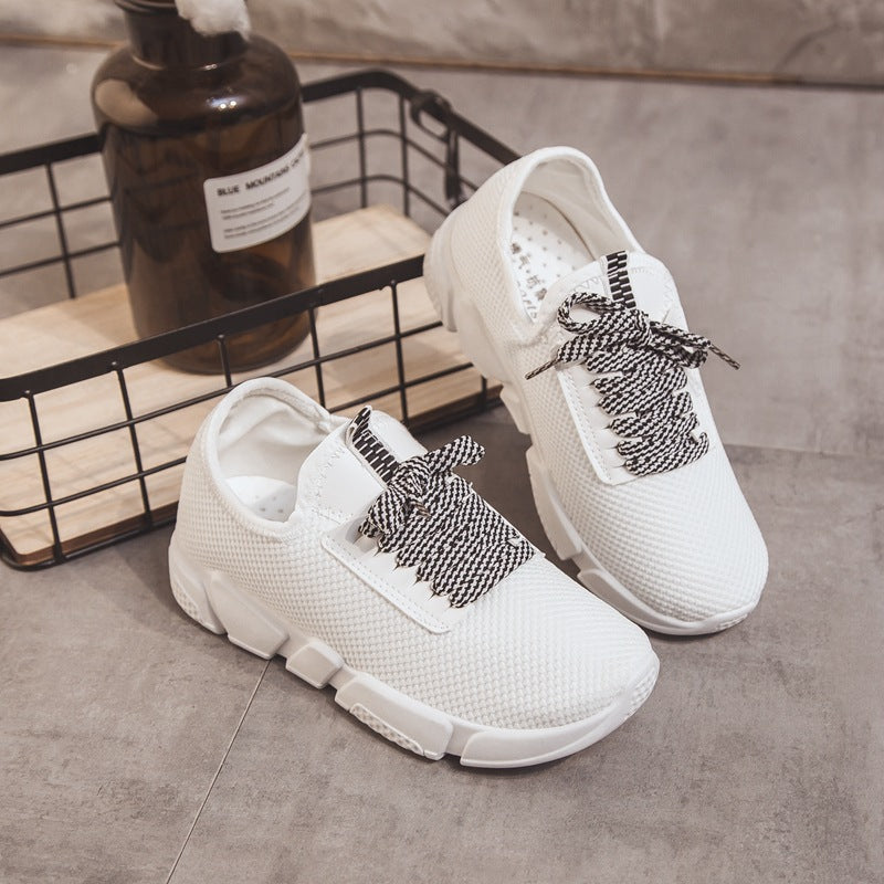 White Spring/Fall Athletic Mesh Fabric Lace-up Flat Heel Sneakers