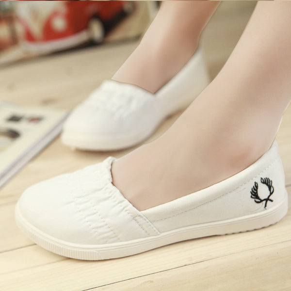 Gray Embroidery Flower Daily Elastic Band Canvas Flat Heel Loafers