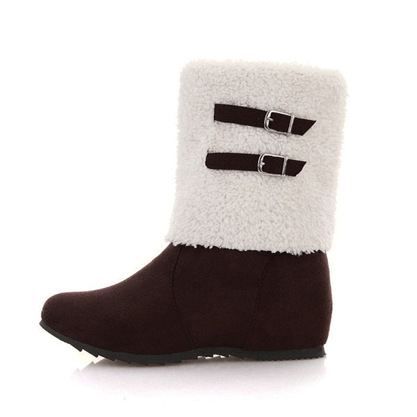 Big Size Buckle Folded Casual Warm Cotton Lining Mid Calf Boots