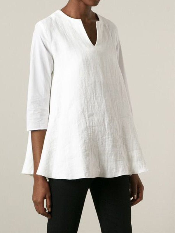V Neck 3/4 Sleeve Linen Shirts