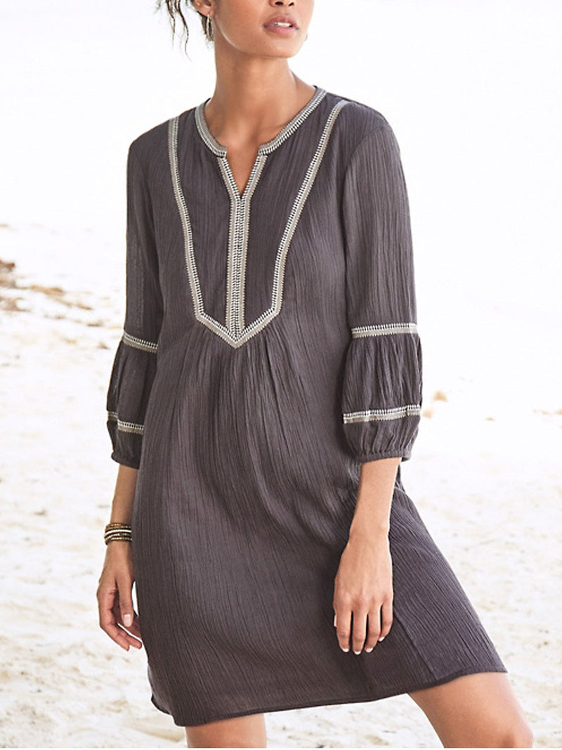 V Neck Plain 3/4 Sleeve Dresses