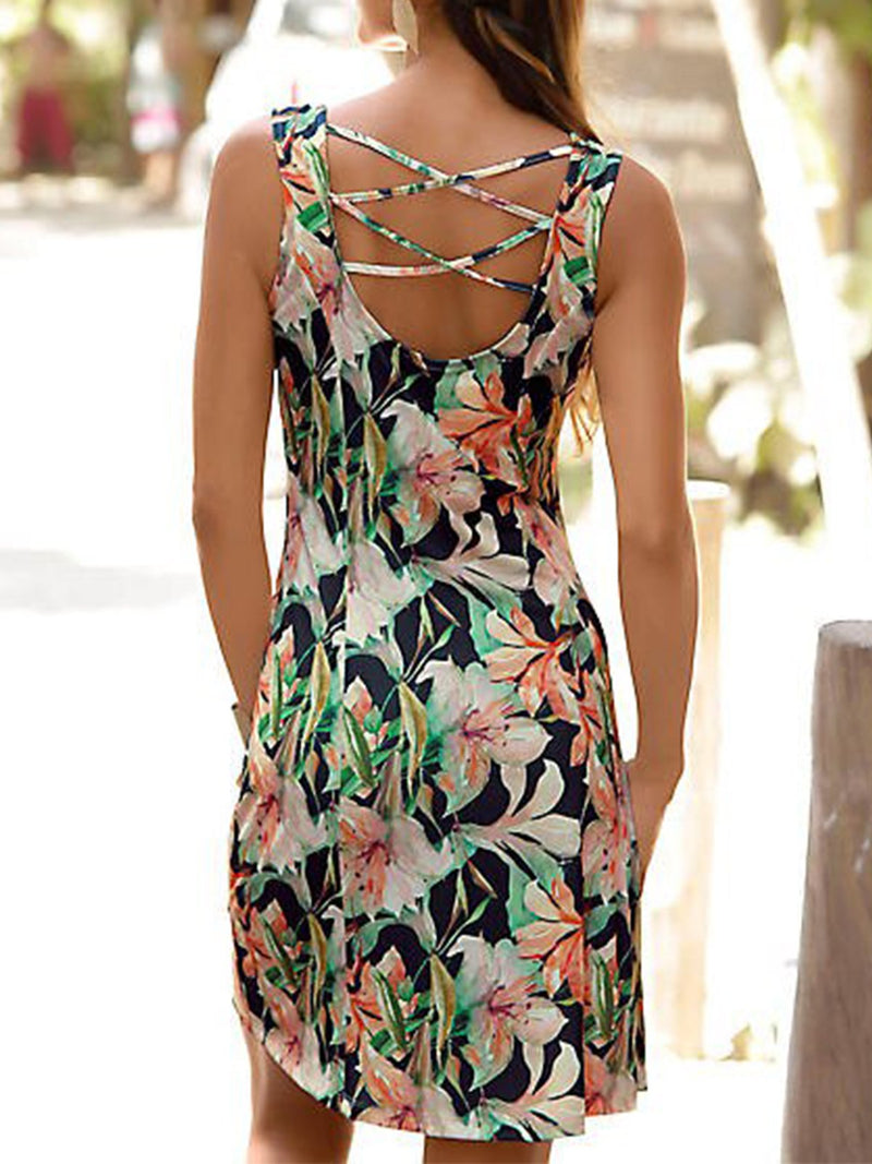 As Picture Round Neck Sleeveless Printed/dyed Dresses