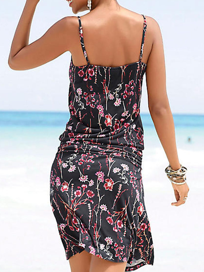 As Picture V Neck Printed/dyed Sleeveless Dresses