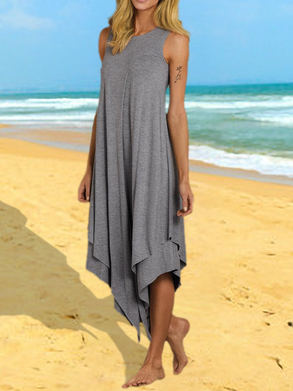 Crew Neck Women Summer Dress Swing Midi Dress
