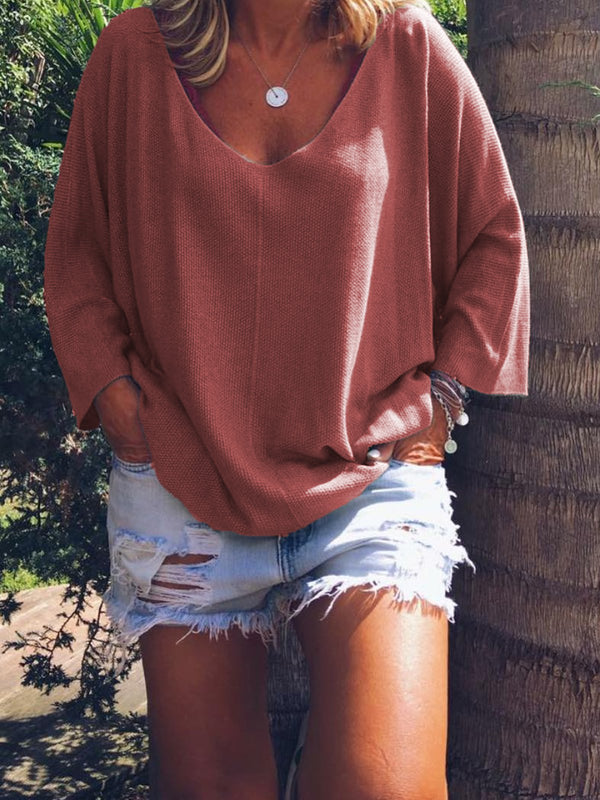 V Neck Casual Half Sleeve Shirts & Tops