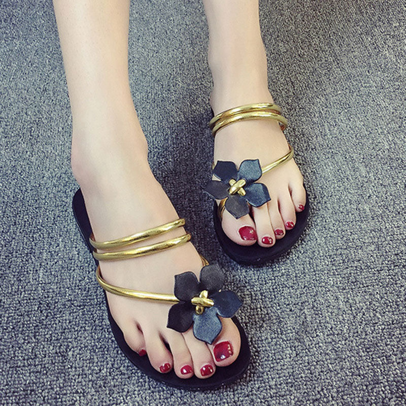 Flower PU Daily Flat Heel Slippers