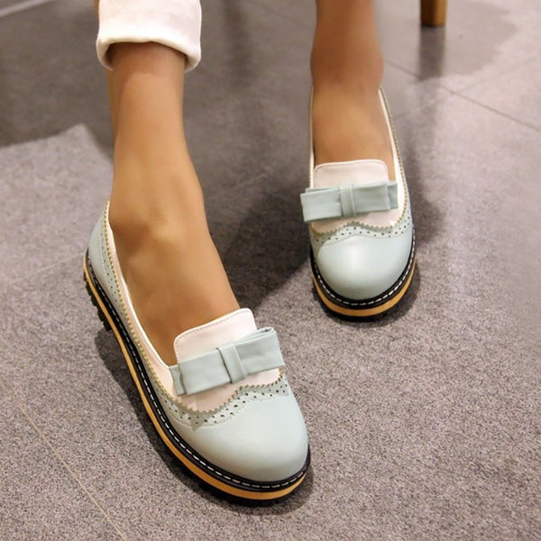Women Fashion Party Round Toe Platform Flat Loafers