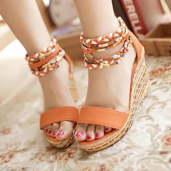 Women Wedge Heel Round Sandals Toe Style Plus Size