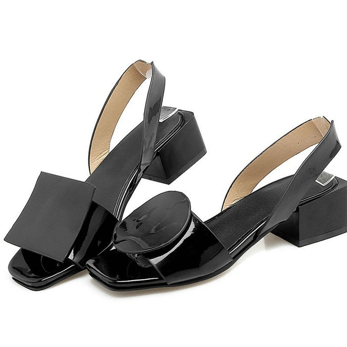 Black Dress PU Chunky Heel Sandal