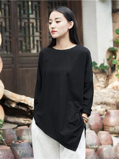 Cotton Casual Crew Neck Blouses
