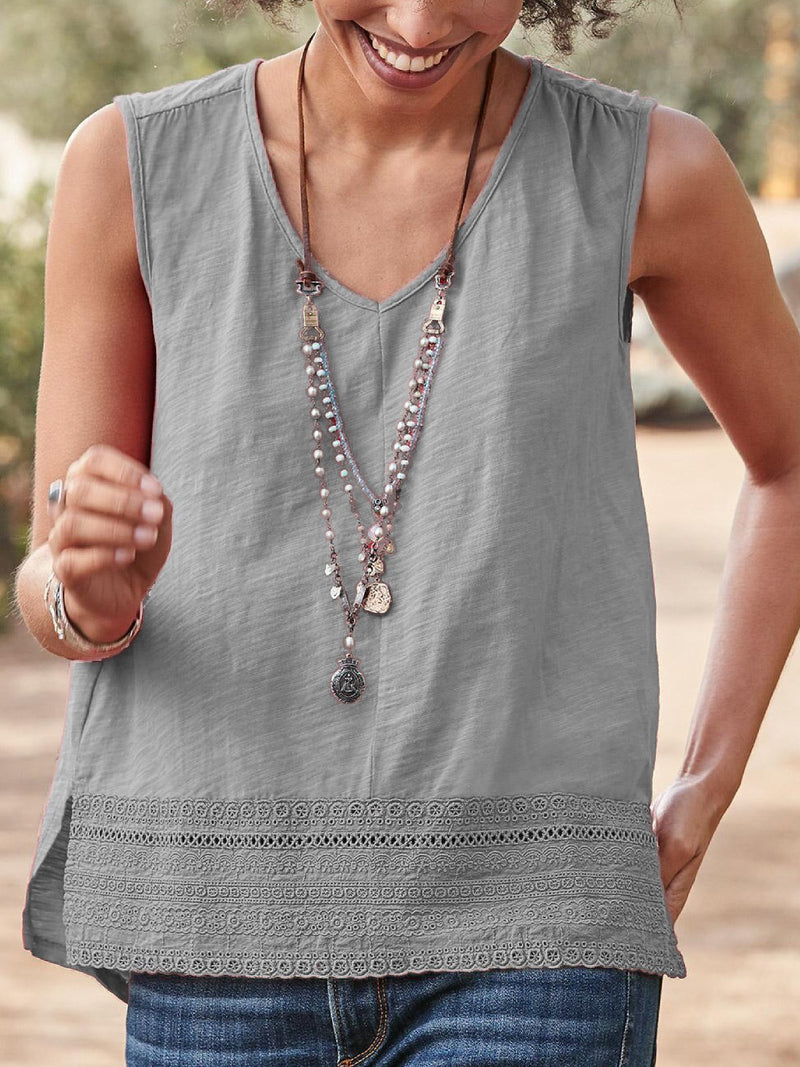 V Neck Solid Hollowed Sleeveless Shirts & Tops